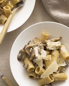 Mushroom Pasta with Ricotta | Martha Stewart Living - This simple pasta highlights the great taste of affordable button mushrooms.