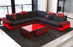 Modern Sectional Fabric Sofa San Antonio L Shape with LED Corner Sofa Design, Sofa Bed Design, Living Room Sofa Design, Home Room Design, Sofa Furniture, Furniture Design, Coaster Furniture, L Shaped Sofa Designs, Modern Sofa Designs