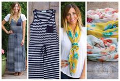 Striped Dress & Floral Print Scarves Your GO-TO Summer Dress! Perfect in Navy & White Stripes with Pocket & Draw String Tie! only $24.97! Gorgeous Floral Scarves in Ivory, Sage & Yellow! just $4.97 each!