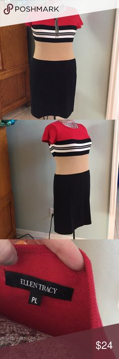 Ellen Tracy super soft sweater dress Ellen Tracy, Sz PL, gorgeous & soft color blocked sweater dress. Don't be afraid of the horizontal stripes, so slimming. Red, black, white, & tan, perfect for the weather, with boots and a blazer. 35in in length. Ellen Tracy Dresses