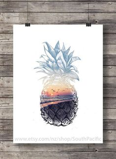 Pineapple Sunset  Aloha tropical island sunset by SouthPacific