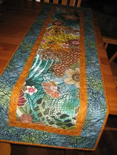 Quilted Table Runner Abstract Retro Flowers In Rust By TahoeQuilts
