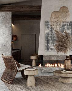 Interior Rendering, Interior Exterior, Modern Interior Design, Interior Architecture, Open Fireplace, Fireplace Design, Küchen Design, House Design, Casa Wabi