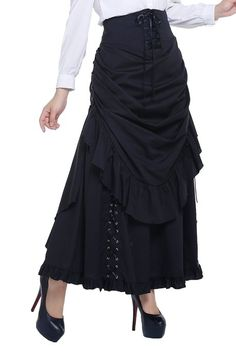 Sarah Black Bustle Corseted Skirt by Chicstar