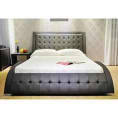 Eastern King Wave-like Shape Upholstered Bed | Overstock™ Shopping - Great Deals on Beds