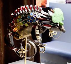 'Built from the guts of some very, very expensive bags, these pieces of Louis Vuitton Franken-critters were made by artist Billie Achilleos as part of a promotional push by Louis Vuitton.'