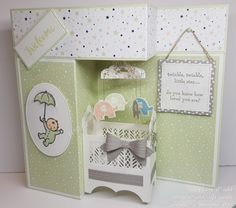 This months team challenge was to produce a baby card, the special occasion being a new baby within the team, my card was a z-fold baby crib pop-up card. Fun Fold Cards, Pop Up Cards, Folded Cards, Baby Girl Cards, New Baby Cards, Tarjetas Pop Up, Baby Pop, Team Challenges, Wink Of Stella