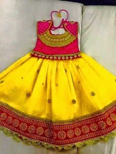 Elegant Yellow Color Kids Lahengha With Designer Blouse |Buy kids clothing at…