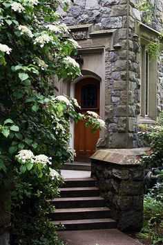 beautiful entry way - love the stone work