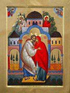 Conception of the Most Holy Theotokos (Mary) by St Joachim and Anne - Greek Orthodox icon Byzantine Icons, Byzantine Art, Religious Icons, Religious Art, Saint Joachim, Paint Icon, Russian Icons, Santa Ana, Best Icons