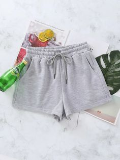 Slant Pocket Drawstring Waist Shorts | SHEIN USA Sport Shorts, Gym Shorts Womens, Chiffon Cami Tops, Satin Crop Top, Velvet Cami, Lounge Shorts, Drawstring Waist, Boho Shorts, Sweatshirts