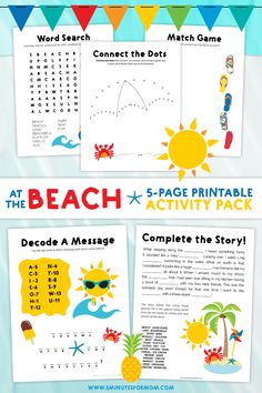 """Summer Word Search Puzzles For Kids - Word search puzzles are a perfect way to keep little ones busy and learning. Your kids will love this """"At The Beach"""" Activity Pack free printable. Kids Beach Activities, Summer Holiday Activities, Preschool Activities At Home, Autumn Activities For Kids, Fun Crafts For Kids, Travel Activities, Kids Fun, Holiday Ideas, Kids Word Search"""