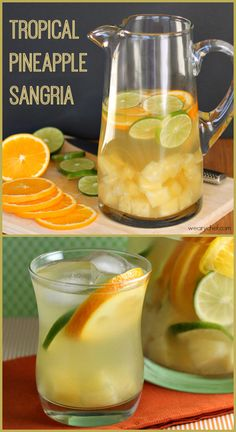 Tropical Pineapple Sangria - Feel like you are on a tropical vacation right in your own living room! #sangria #cocktail