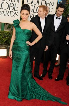 Actress Mila Kunis arrives at the 68th Annual Golden Globe Awards held at The Beverly Hilton hotel on January 16, 2011 in Beverly Hills, California. Amazing Dress Rich Green Colour