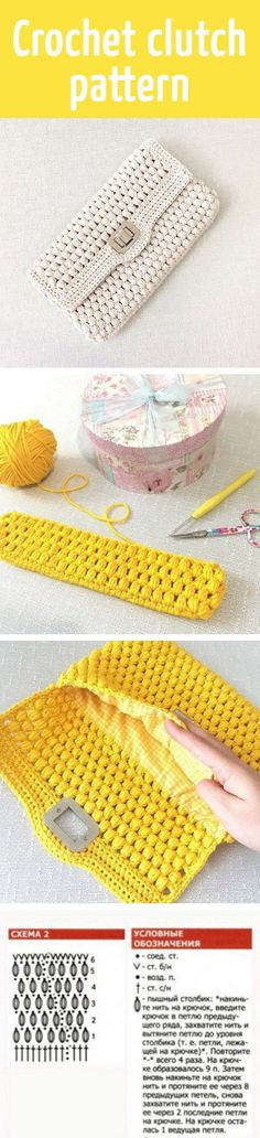 Crochet clutch pattern Más