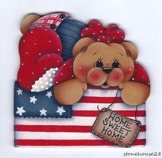 """HP TEDDY BEAR Patriotic """"Home Sweet Home"""" FRIDGE MAGNET #Handpainted"""