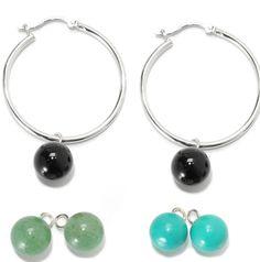 "Sterling Silver 2""  10mm Multi Color Interchangable Bead Charm Hoop Earrings by V3designsInc on Etsy"