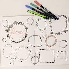Draw Frame - A small repertoire of pretty frames to decorate Bullet Journal Mental Health, Bujo, Types Of Pencils, Scrapbooking 101, Sketch Note, Doodle Frames, Drawing Frames, Quilt Labels, Inspirational Artwork