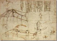 Schéma de léonard de Vinci du vol de l'homme