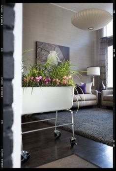 Bring the garden inside. Try crafting your own planter from whatever materials you have on hand — especially great for city dwellers without access to a whole yard. Putting your planter on casters is a great tip that will make moving your container much easier.