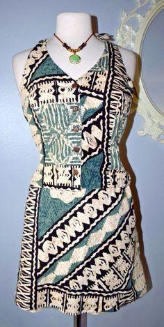 Green Beige Tiki Hawaiian Hilo Hattie Shorts Halter top Set XL X-Large Vintage? #HiloHattie #Halter