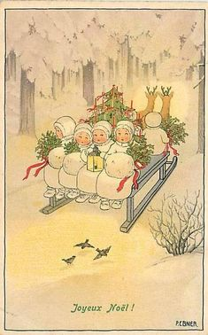 Vintage Christmas postcard -illustration of kiddies/Snowbabies carrying holly boughs with tree in sleigh lead by deer going through woods Vintage Christmas Images, Noel Christmas, Victorian Christmas, Retro Christmas, Vintage Holiday, Christmas Pictures, Christmas Greetings, Vintage Images, French Christmas