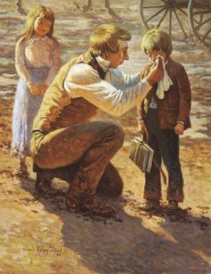 A painting by Clark Kelley Price of the Prophet Joseph Smith kneeling on one knee and wiping the tears of a little boy standing next to him.