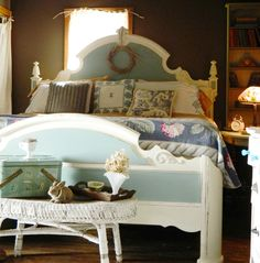 """This is the Master Bedroom in the Maple Valley Farmhouse.  When we purchased the farm in 2008, all of the walls were painted high gloss white.  I love how these colors pop!  Walls by Valspar - Peat Moss. Furniture is Annie Sloan Duck Egg Blue and Old white- both with clear was cover.  Everything in the picture is thrifted except the bed and the coverlet on the bed.  My favorite find in this photos is the 2 dollar vintage bark cloth, """"hydrangea"""" on the end of the bed."""