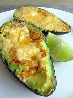 Shut the front door ...these are fabulous! Low carb. grilled avocado with melted parm. cheese  lime. #RecipeSerendipity #recipe #food #cooking