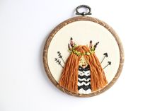 Indian Girl Embroidery Hoop by litillustrationhouse on Etsy