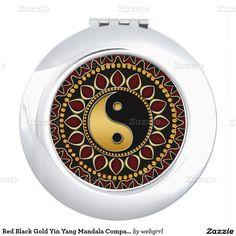 Red Black Gold Yin Yang Mandala Compact Mirror