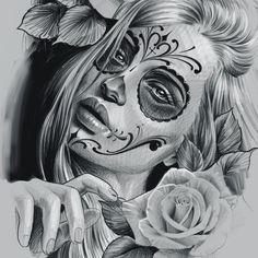 Sugar Skull Girl Tattoo, Skull Sleeve Tattoos, Chicano Art Tattoos, Gangsta Tattoos, Diadem Tattoo, Day Of The Dead Girl Tattoo, Calaveras Mexicanas Tattoo, Prison Drawings, Mago Tattoo