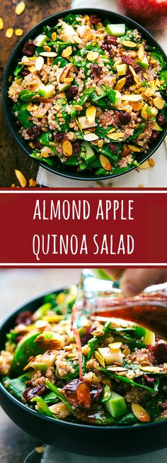 Delicious and Easy Almond Apple Quinoa Salad with the BEST. Delicious and Easy Almond Apple Quinoa Salad with the BEST raspberry vinaigrette Healthy Salads, Healthy Eating, Healthy Food, Whole Food Recipes, Cooking Recipes, Cooking Tips, Slow Cooking, Sweet Recipes, Vegetarian Recipes