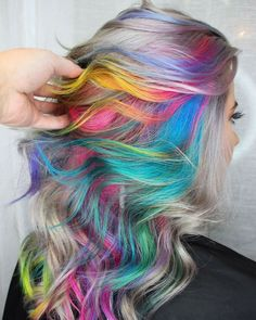 Totally loving the hidden colors underneath the white hair.