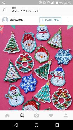 Trees, Santa and snowflakes Seed Bead Patterns, Peyote Patterns, Beading Patterns, Beaded Christmas Ornaments, Christmas Jewelry, Beaded Banners, Beaded Crafts, Beaded Animals, Pony Beads