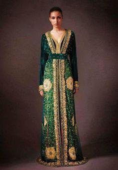 moroccan gold and dark green kaftan