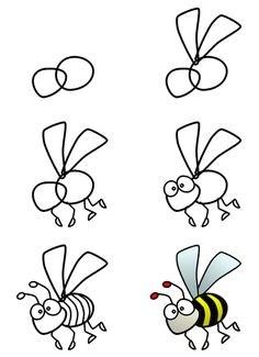 A cute cartoon bee can be drawn in only a few basic steps! :)