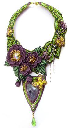~~Captivated Garden Necklace, flowers, leaves and butterflies created from seed beeds   Beadwork by Svetlana Paranina~~