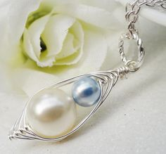 Mother And Son Handcrafted Peapod Necklace New Mother Gift