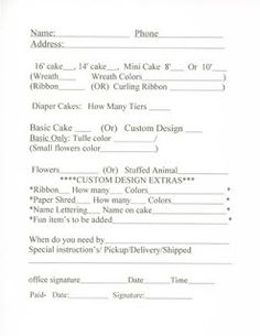 Cake Order Form Template | Affordable Diaper Cakes