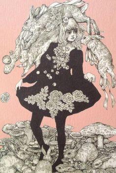 Alice i wonderland Rabbit Art, Lewis Carroll, Japanese Art, Cute Art, Art Inspo, Alice In Wonderland, Wallpaper, Photo Art, Art Drawings