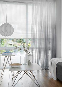 "Gecombineerd met ""In between"" van Window Coverings, Window Treatments, Voile Curtains, Window Dressings, Small Places, Roller Blinds, New Homes, Dining Table, Indoor"