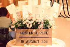 We used a personalised apple crate as a holder for our table plan