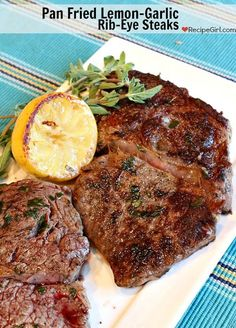 Pan Fried Lemon- Garlic Rib-Eye Steaks - RecipeGirl.com - http://www.recipegirl.com/2013/04/22/pan-fried-lemon-garlic-rib-eye-steaks/