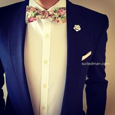 """The Details: Bow Tie - Vintage Pink Floral; Lapel Flower - Crystal Camellia; Pocket Square - Light Pink Linen. Available @ www.suitedman.com"""