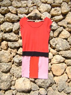 Urban Shabby Chic Upcycled Tunic Dress Red Pink by NuLifeClothing, $50.00