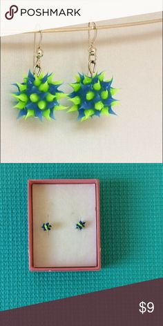 Green and blue spiky earring studs I love the bright colors of these earrings and that they are so lightweight. The blue balls have blue and fluorescent green tips. This is one of my favorite. Super Cute!!   All items ship within 3-5 business days. Jewelry Earrings