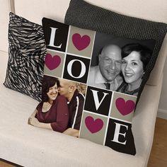 Love Photo Collage Throw Pillow