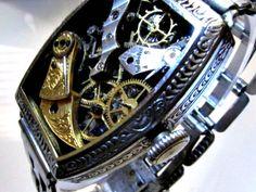 Broken Time Steampunk Bracelet  Vintage watch part collage in a vintage art deco wristwatch. $90