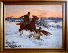 Dojeżdżacz - na polowaniu z chartami,  75cm x 100cm,  Obraz olejny na płótnie